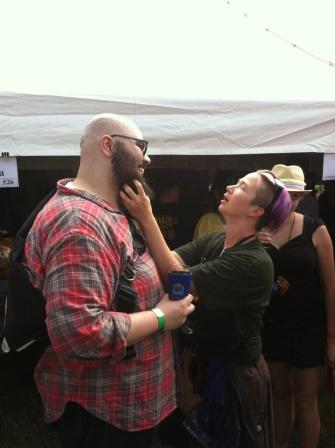 ladies from the Real Ale Tent couldnt get enough of the homie @omfgroflcopter and his beard.
