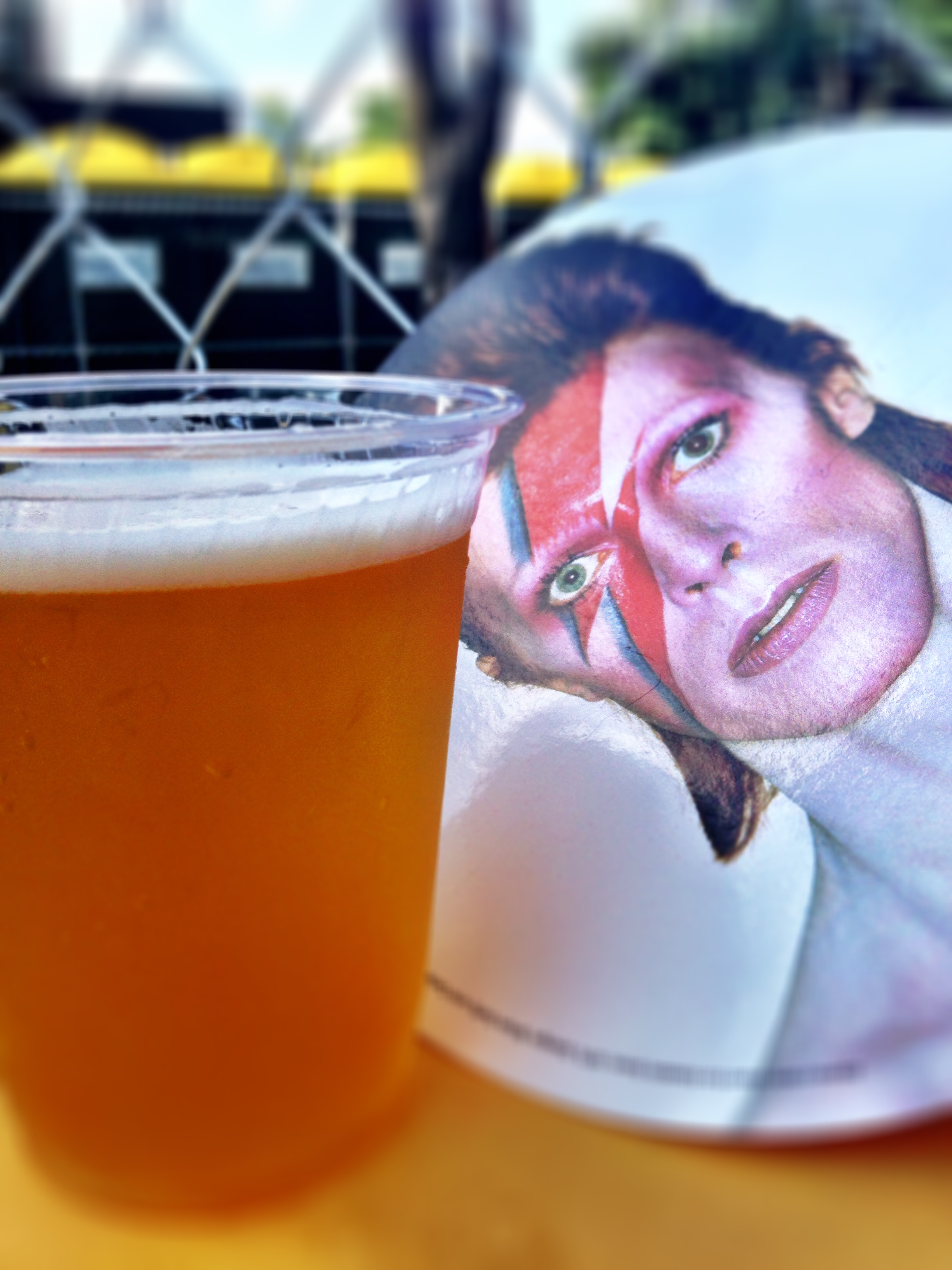 5 Rabbit Gringolandia Super Pils and a pretty sweet David Bowie, Aladdin Sane hand fan courtesy of 93XRT