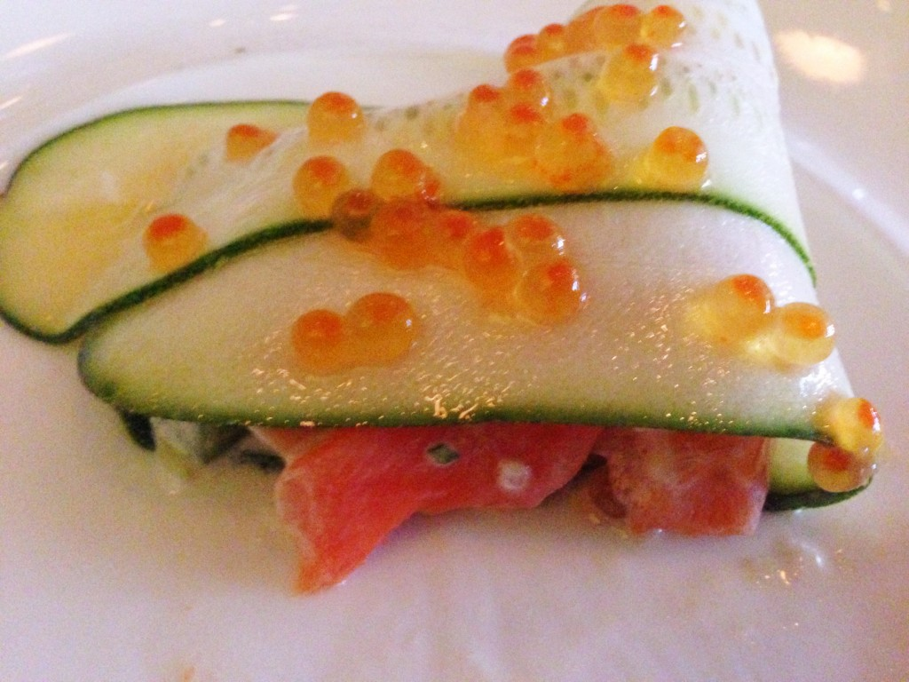 first course: confit fjord trout with zucchini, smoked serranos, trout roe & purslane.