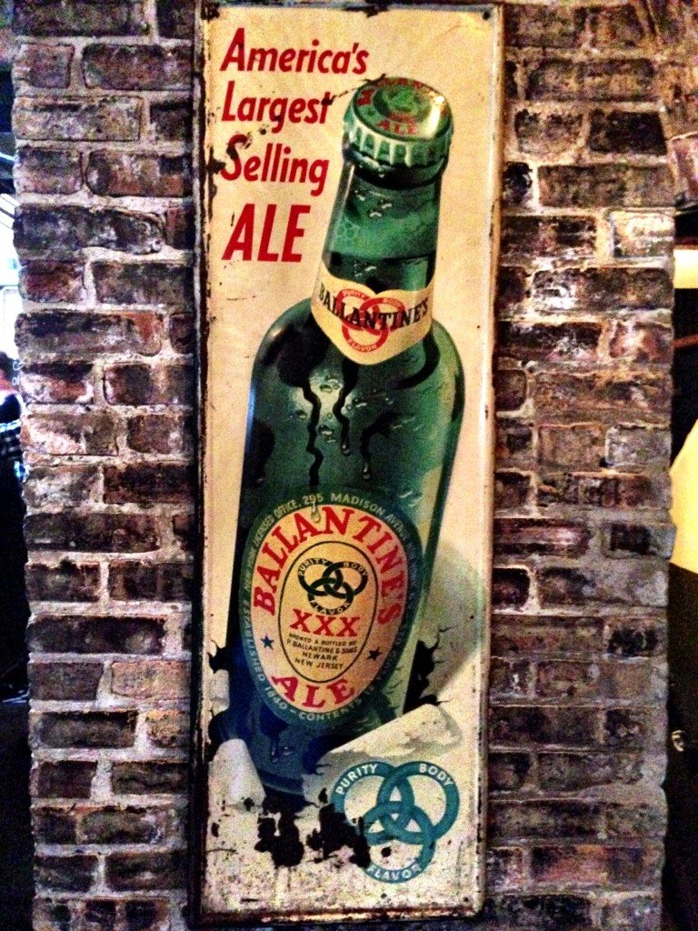 a tin sign for the original Ballantine Ale at Hopleaf