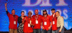 Gold!!!!! Pete Crowley, Janna Mestan, Steve Mosqeda, David Kerns, Gary Valentine and Michael Gemma accepting the Gold Medal for Haymarket's Defender American Stout at the Great American Beer Festival