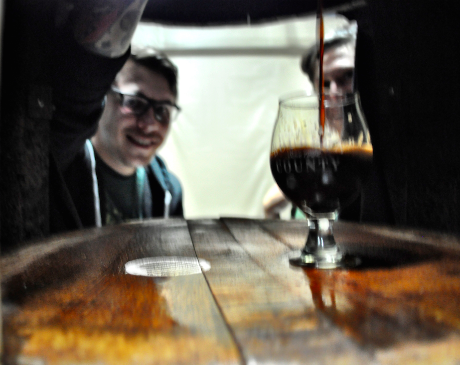 Seth + Suzanne pouring OG Vanilla (right) or BCS '13 (left)